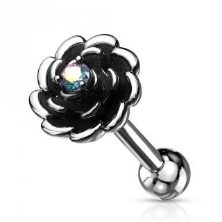 Piercing tragus fleur argentée et noircie à strass - Aurore Boréale