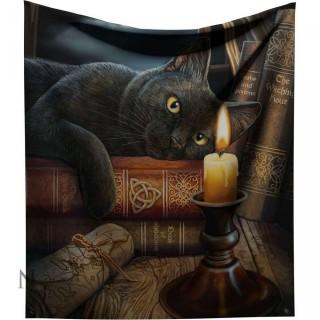 Plaid 160cm à chat noir et grimoire - Lisa Parker