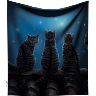Plaid 160cm à chats et étoile filante - Lisa Parker