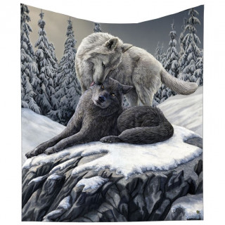 Plaid 160cm à couple de loups dans la neige - Lisa Parker