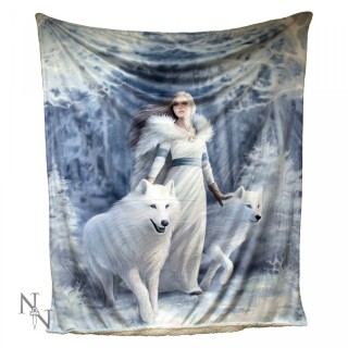 Plaid 160cm à femme et loups blancs - Anne Stokes