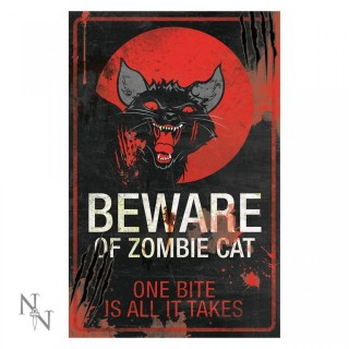 Plaque déco chat zombie - 43cm