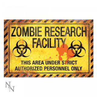 Plaque déco Zombie Research Facility - 43cm