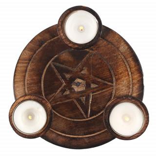 Plateau à thé porte bougie en bois à pentagramme gravé