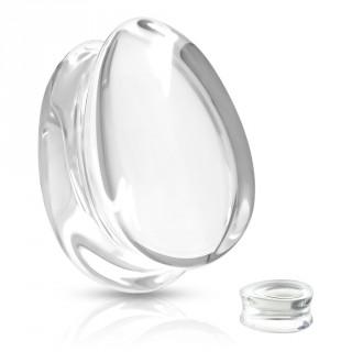 Plug en verre en forme de goutte - Transparent