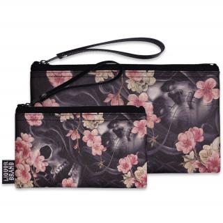 Pochette + Porte-monnaie à crane et fleurs de cerisier - Liquor Brand