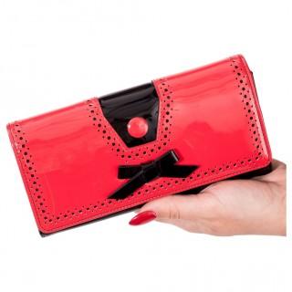 Pochette ROSEMARY rouge et noire perforée à ruban - Banned