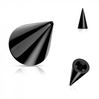 Pointe / Spike de remplacement piercing en acier Noir (pour tige filetage interne)