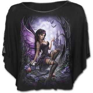Poncho gothique noir avec fée et chateau enchanté