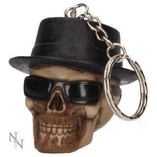 Porte-clé crane badass à chapeau et lunettes noires