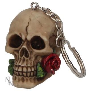 Porte-clé crane humain tenant une rose entre les dents - Nemesis Now