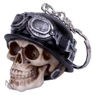 Porte-clé crane motard à casque avec croix de malte