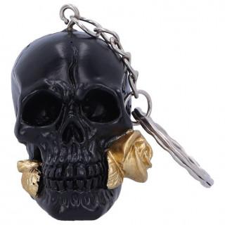 Porte clé tête de mort noire à rose dorée