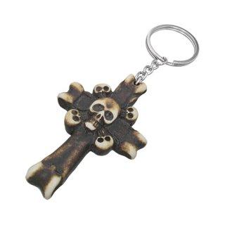 Porte-clés en os croix et têtes de mort