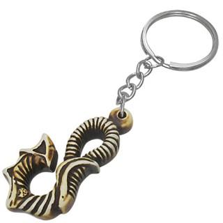 Porte-clés spirale tribale en os