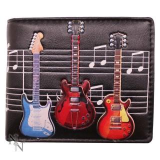 Porte-feuille à guitares électriques sur notes de musique