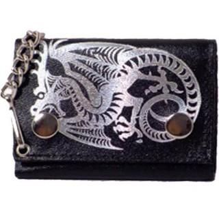 Porte-feuilles-cartes noir à chaine avec dragon