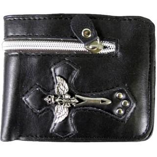 Porte-feuilles-cartes noir avec croix ailée en métal