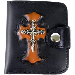Porte-feuilles-cartes noir et orange avec croix à têtes de mort