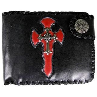 Porte-feuilles-cartes noir et rouge avec croix gothique
