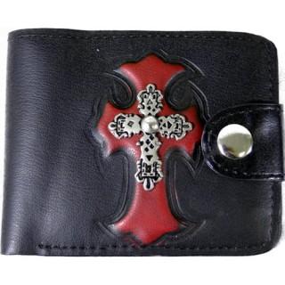 Porte-feuilles-cartes noir et rouge avec croix tribale