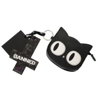 Porte-monnaie gothique Banned tête de chat noir