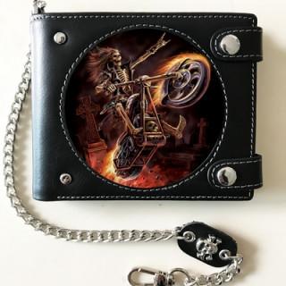 "Portefeuille Effets 3D ""Hell Rider"" à motard squelette enflammé - Anne Stokes"