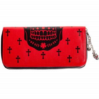 Portefeuille goth-rock Banned rouge à crane de sucre noir et chainette