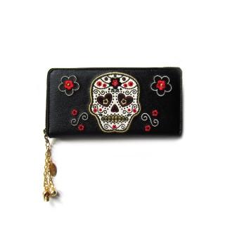 Portefeuille gothique Banned noir à crane de sucre brodé et fleurs