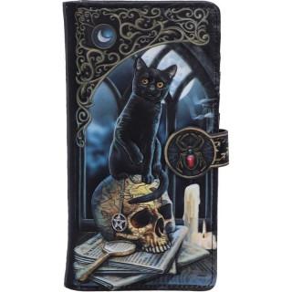 Portefeuille long à Chat noir sur crane de sorcellerie - Lisa Parker