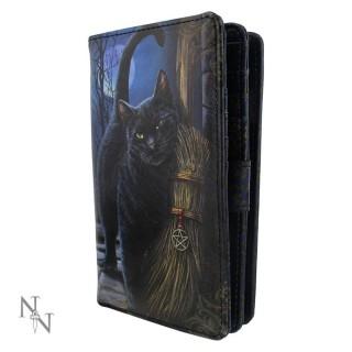 Portefeuille similicuir à chat noir et balai de la sorcière- Lisa Parker