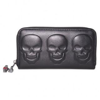 Portefeuilles gothique 3 crânes en relief noir -  Banned