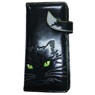 Portefeuilles long à relief chat noir aux yeux verts