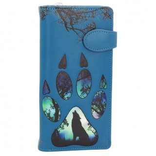 Portefeuilles long à relief empreinte de patte de loup en similicuir bleu