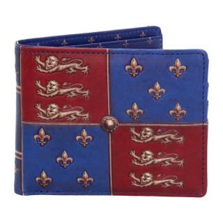 Portefeuilles médiéval à fleur de lys et lions en similicuir bleu et rouge