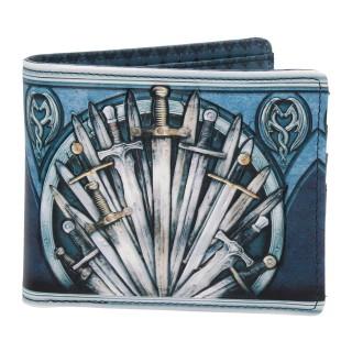 Portefeuilles médiéval similicuir bleu à épés et armoiries dragons