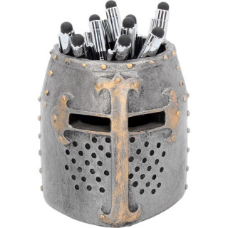 Pot à stylos en forme de casque de croisé