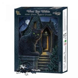 Puzzle 1000pcs à chat noir devant la maison de la sorcière - Lisa Parker