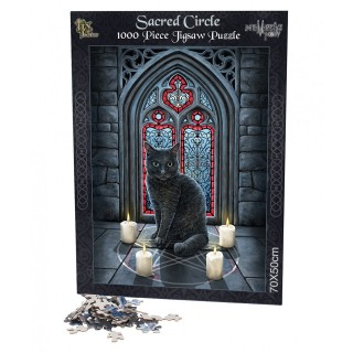 Puzzle 1000pcs à chat noir sur cercle d'invocation - Lisa Parker