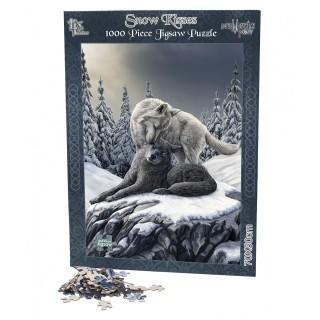 Puzzle 1000pcs à couple de loups dans la neige - Lisa Parker
