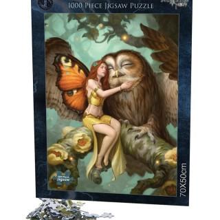 """Puzzle 1000pcs fée et chouette """"Fairy and Owl"""" - James Ryman"""
