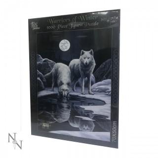 """Puzzle 1000pcs à loups au bord de la rivière """"Warriors of Winter""""- Lisa Parker"""