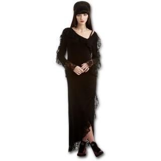 Robe de soirée gothique noire à coupe asymétrique avec dentelle