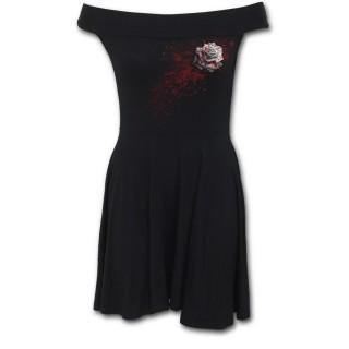 Robe gothique col bardot avec rose ensanglanté et éclaboussures