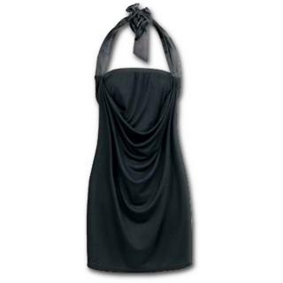 Robe gothique élégante noire à dos plissé et rubans