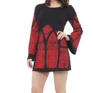 Robe gothique Jawbreaker noire et rouge à motif cathédrale