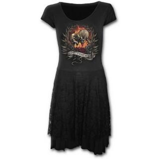 Robe gothique noire à manches courtes avec squelettes d'amoureux unis dans la mort