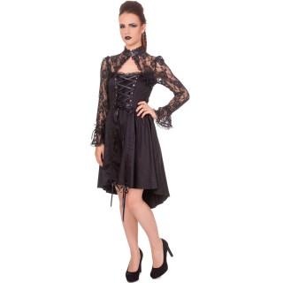 Robe gothique noire Banned à manches dentelle et lacets