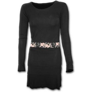Robe gothique noire élégante à manches longues et bande de dentelle