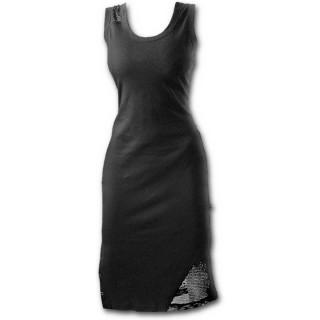 Robe longue gothique noire sans manche avec resille